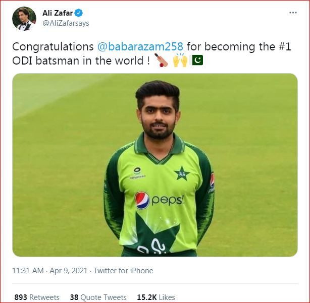 @AliZafarsays congratulates Babar Azam for becoming the #1 ODI batsman in the world