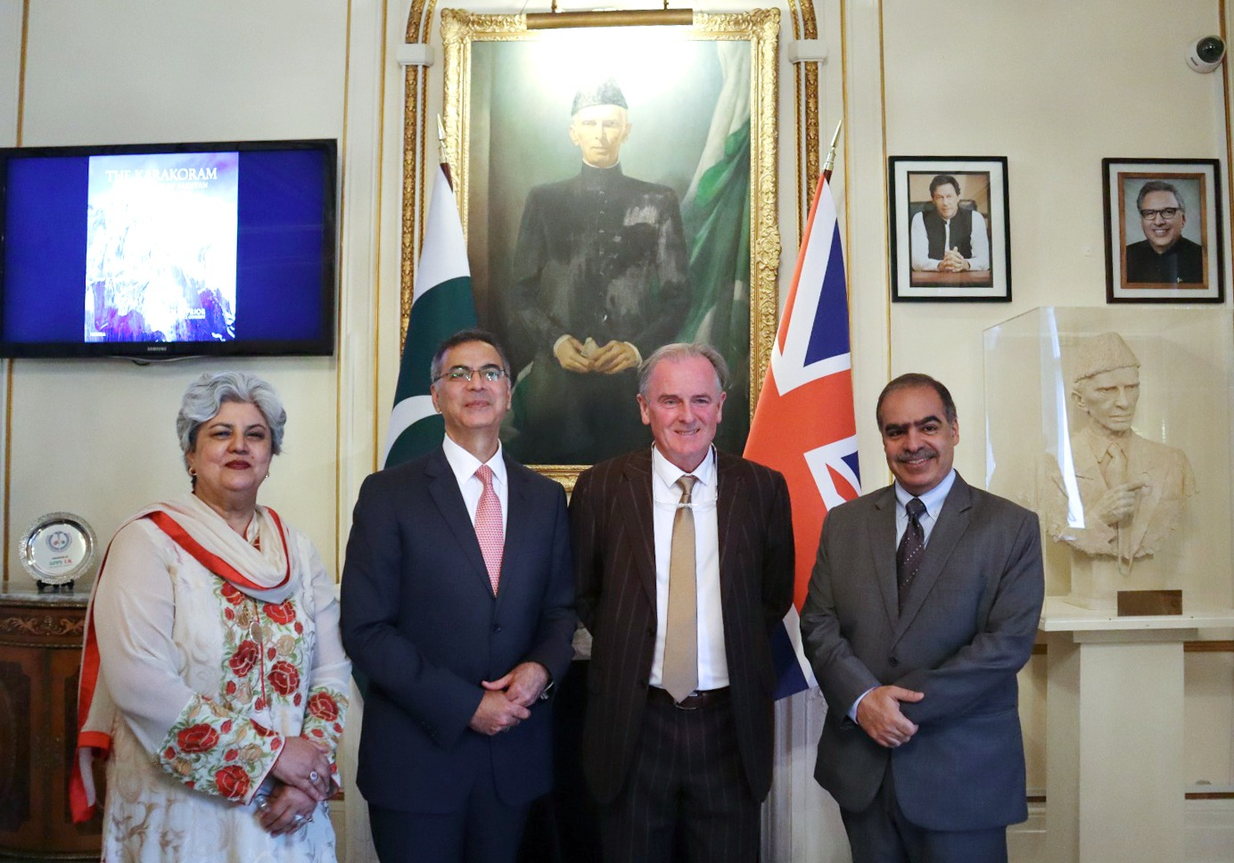 Group photo: (from left) Amb. (R) Leena Salim Moazzam, Pakistan High Commissioner to the UK, Moazzam Ahmad Khan, Photographer Colin Prior and H.E. Shaikh Fawaz bin Mohammed Al Khalifa, Ambassador of Bahrain to the UK at the book launch ceremony at Pakistan High Commission London