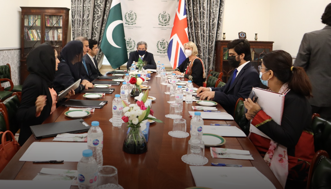 Shafqat Mahmood, Federal Minister for Education, Professional Training, National Heritage and Culture in a meeting with Alison Johns, CEO of Advance Higher Education, UK at the Pakistan High Commission London